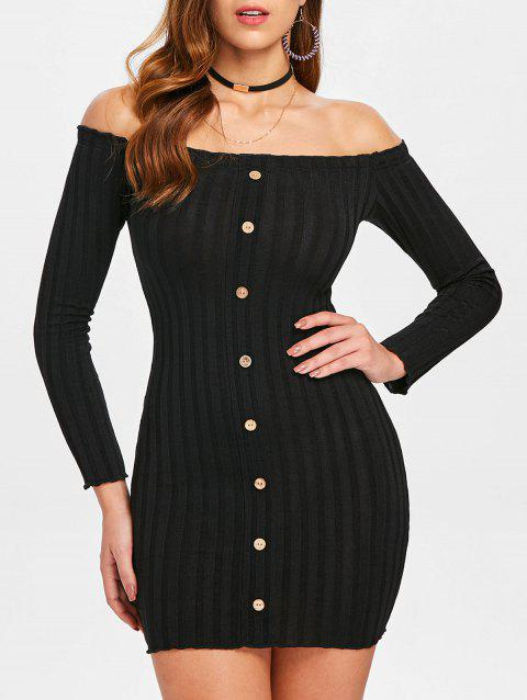 Buttoned Off Shoulder Bodycon Dress - BLACK M