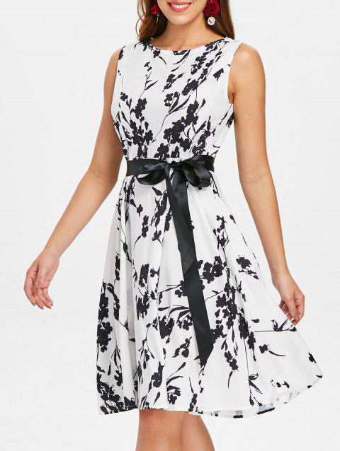 Print Flared Knee Length Dress - WHITE XL