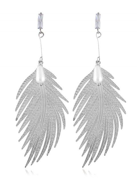 Statement Alloy Feather Dangle Drop Earrings - SILVER