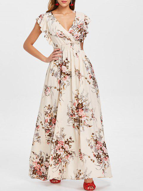Ruffle Trim Maxi Floral Dress - WARM WHITE M