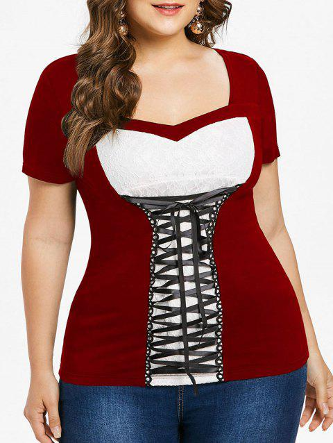 Lace Insert Plus Size Sweetheart Neck T-shirt - RED WINE 3X