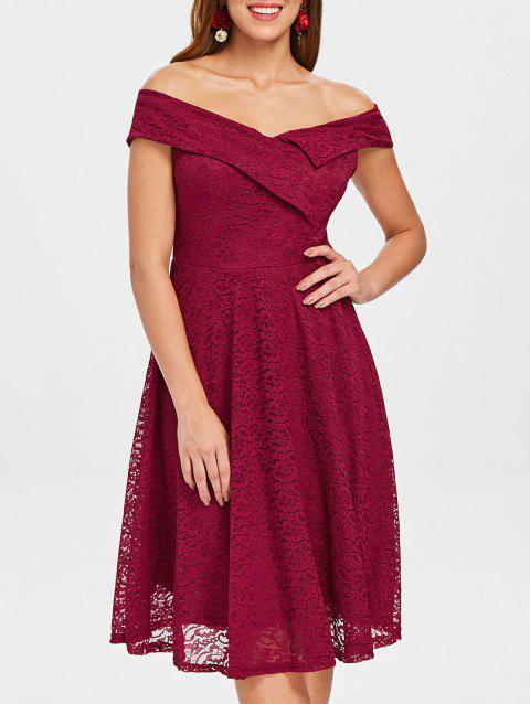 a970da7ddc69 2019 Fold Over Off The Shoulder Lace Evening Dress In RED WINE M ...
