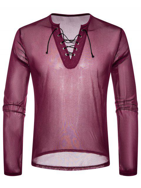 Lace Up Design V Neck Mesh T-shirt - ROSE RED L