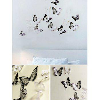 3D Butterflies Design Wall Stickers Set for Home - WHITE