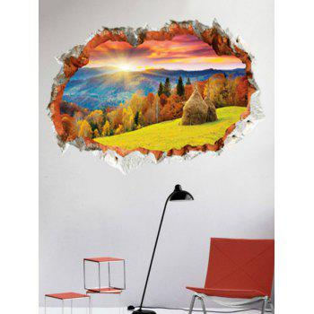 3D Sunset Forest Landscape Printed Home Decor Wall Sticker - multicolor