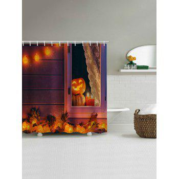 Halloween Pumpkin Lamp Print Waterproof Shower Curtain - HALLOWEEN ORANGE W71 INCH * L71 INCH