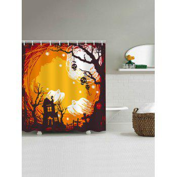 Halloween Castle Night Print Waterproof Shower Curtain - multicolor W59 INCH * L71 INCH