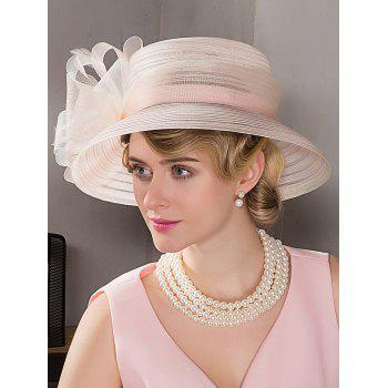 Stylish Floral Tea Party Wedding Church Hat - LIGHT PINK