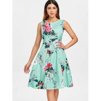 Print Fit and Flare Vintage Dress - BLUE GREEN M