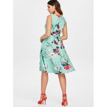 Print Fit and Flare Vintage Dress - BLUE GREEN L