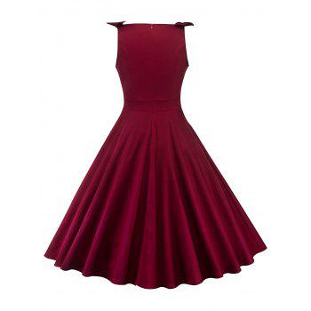 Round Neck Bowknot Insert Retro Dress - RED WINE L
