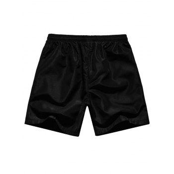 Embroidery Wolf Head Elastic Waist Beach Shorts - PLATINUM L