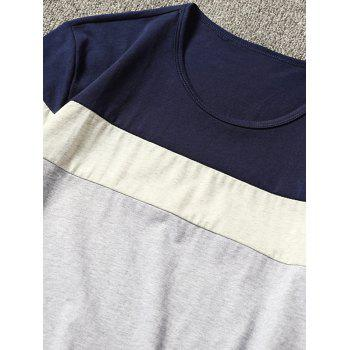 Short Sleeve Color Block T-shirt - ROYAL BLUE L