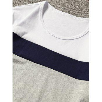 Short Sleeve Color Block T-shirt - WHITE XL