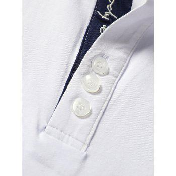 Embroidery Letter Stripe Trim Polo Collar T-shirt - WHITE L