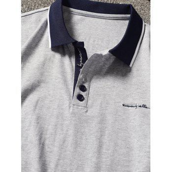 Embroidery Letter Stripe Trim Polo Collar T-shirt - LIGHT GRAY M