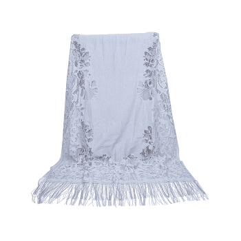 Hollow Out Floral Lace Long Scarf - GRAY GOOSE