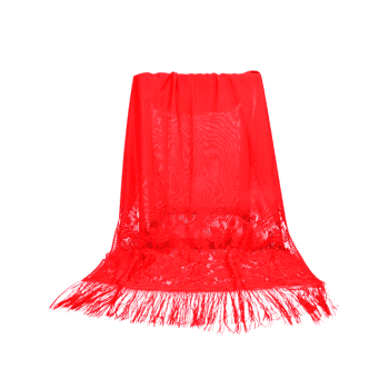Floral Lace Fringed Silky Long Scarf - FIRE ENGINE RED
