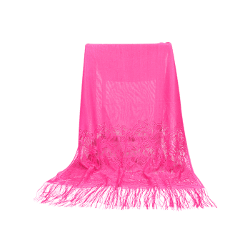 Floral Lace Fringed Silky Long Scarf - ROSE RED