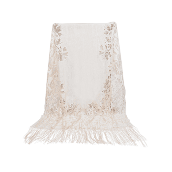 Hollow Out Floral Lace Long Scarf - BEIGE
