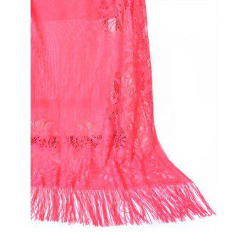 Hollow Out Floral Lace Long Scarf - WATERMELON PINK