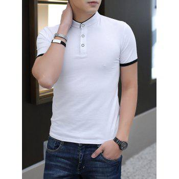 Contrast Color Stand Collar Polo Shirt - WHITE L