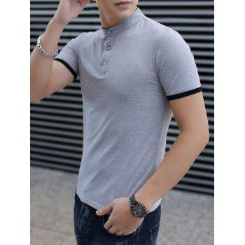 Contrast Color Stand Collar Polo Shirt - LIGHT GRAY L