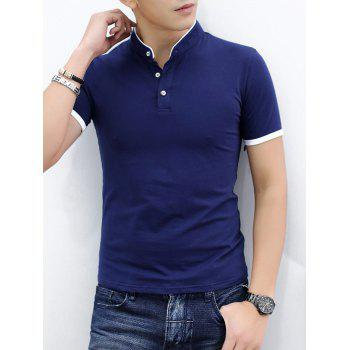 Contrast Color Stand Collar Polo Shirt - CADETBLUE L