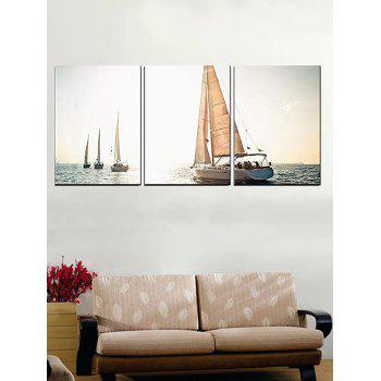 Ocean Sailing Boat Print Unframed Canvas Paintings - multicolor 3PCS:20*29.5 INCH( NO FRAME )