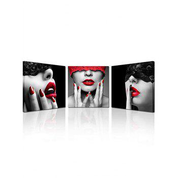 Blindfolded Beauty Print Unframed Canvas Paintings - multicolor 3PCS:20*20 INCH( NO FRAME )