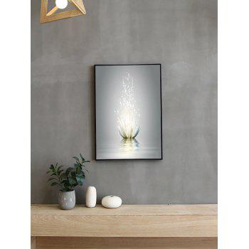 Water Lotus Print Framed Canvas Painting - multicolor 14*20 INCH
