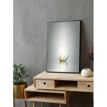 Water Lotus Print Framed Canvas Painting - multicolor 16*24 INCH