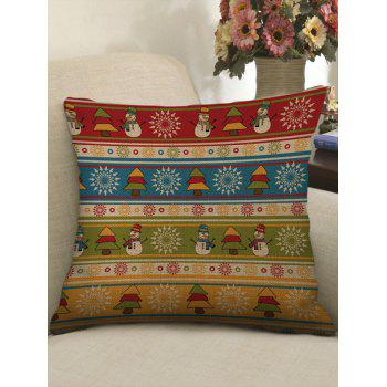 Christmas Trees Snowman Printed Pillowcase - multicolor W17.5 INCH * L17.5 INCH