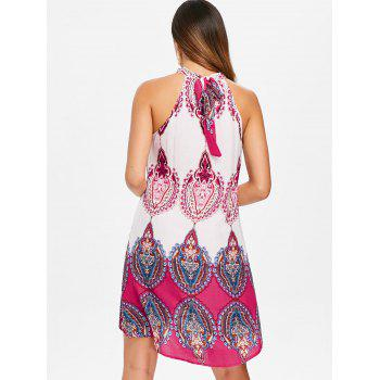 Ethnic Print High Low Mini Dress - ROSE RED XL