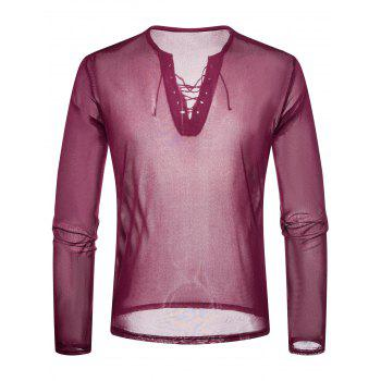 Lace Up Design V Neck Mesh T-shirt - ROSE RED S