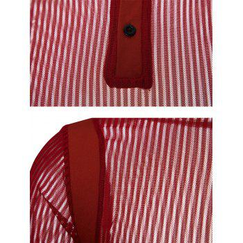 Solid Color Patch Detail Striped Mesh Polo Shirt - RED XL
