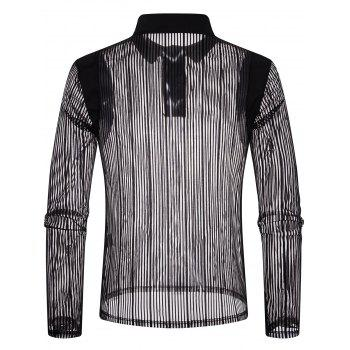 Solid Color Patch Detail Striped Mesh Polo Shirt - BLACK 2XL