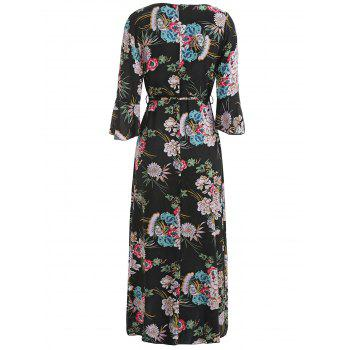 Print Flared Sleeve High Slit Dress - BLACK M