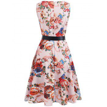 Floral Print Fit and Flare Dress - multicolor L