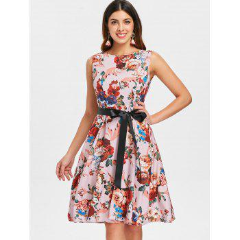 Floral Print Fit and Flare Dress - multicolor XL