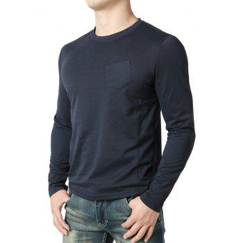 Seam Detail Chest Pocket Casual Long Sleeve T-shirt - NAVY BLUE S