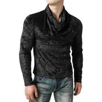 Solid Color Cowl Neck Velvet T-shirt - BLACK M