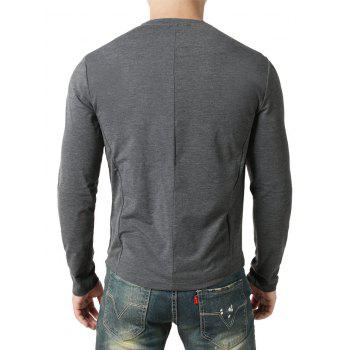 Seam Detail Chest Pocket Casual Long Sleeve T-shirt - GRAY WOLF M