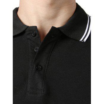 Stripe Trim Color Block Short Sleeve Polo T-shirt - BLACK S