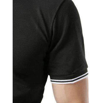 Stripe Trim Color Block Short Sleeve Polo T-shirt - BLACK M