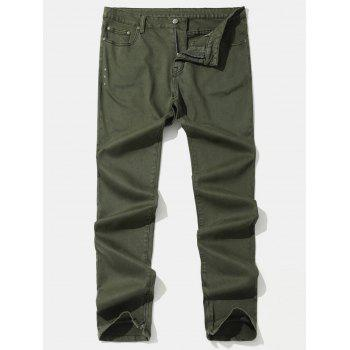 Taper Fit Solid Color Zip Hem Jeans - ARMY GREEN L