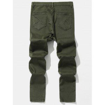 Taper Fit Solid Color Zip Hem Jeans - ARMY GREEN XL