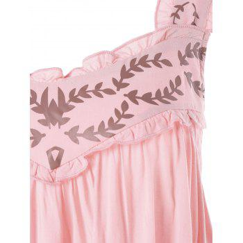 Open Back Leaf Printed Swing Dress - LIGHT PINK 2XL