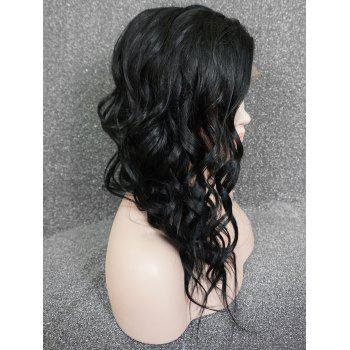 Inclined Bang Long Asymmetric Wavy Lace Front Human Hair Wig - BLACK