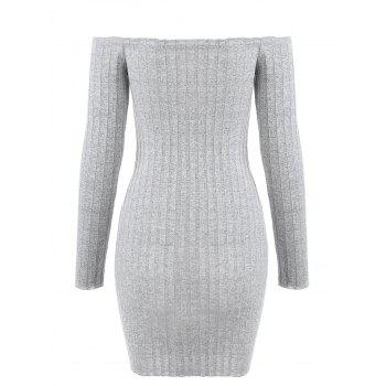Buttoned Off Shoulder Bodycon Dress - LIGHT GRAY M